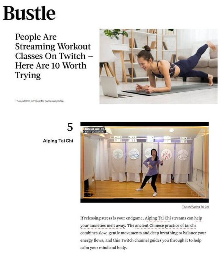 Bustle magazine Twitch Top 10 fitness channel Aiping Tai Chi